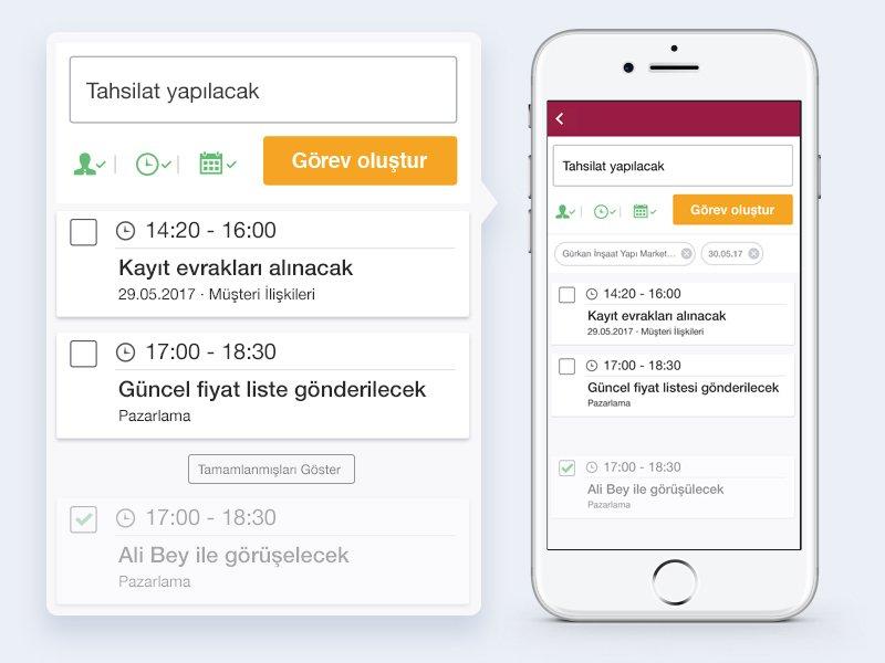 Ekmob mobil uygulamasında görev ekleme ve listeleme ekranı